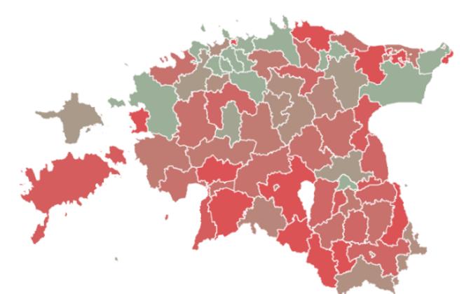 Omavalitsuste tulude kaart elaniku kohta
