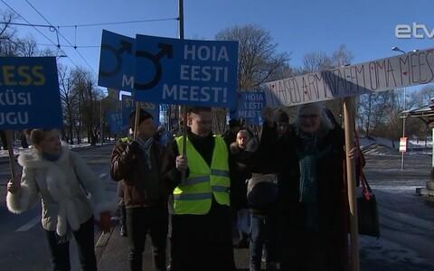Желающих присоединиться к маршу в поддержку мужчин в Таллинне оказалось немного