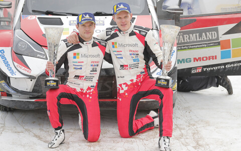 Ott Tänak (right) and co-driver Martin Järveoja after they won the 2019 Rally Sweden on 17 February.