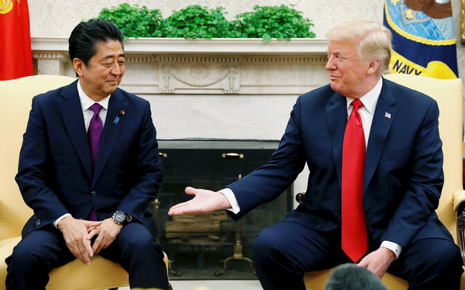 Shinzo Abe ja Donald Trump mullu juunis Valges Majas.