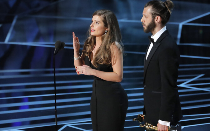 Eelmise aasta lühifilmi kategooria võitjad Rachel Shentonja Chris Overton filmi