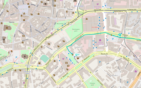 The area of central Tallinn most affected by Sunday's concert and other activities, together with the regular route of one of the bus routes affected (67 in this case).
