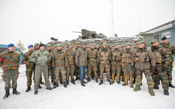 Belgian premier Charles Michel meeting with NATO troops from his country on Wednesday.