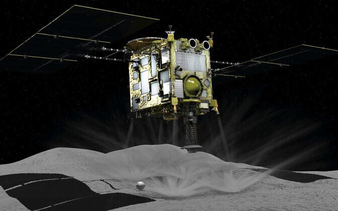 Arvutiga loodud kujutis asteroidi Ryugu uurima saadetud kosmosesondist Hayabusa2.