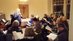 The Hamilton Estonian Mixed Choir rehearsing with Triin Koch in January. 2019.