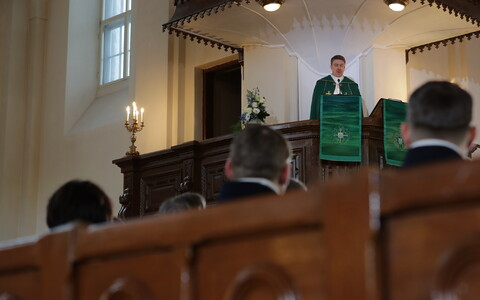 Archbishop Urmas Viilma delivering a sermon at an ecumenical Independence Day service on Sunday. 24 February 2019.