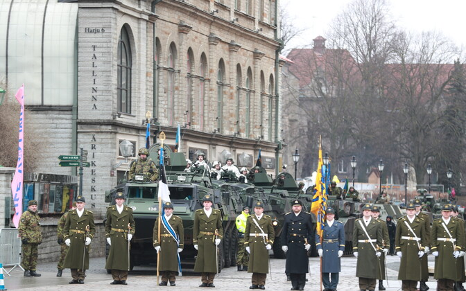 Independence Day parade at Tallinn's Freedom Square. 24 February 2019.