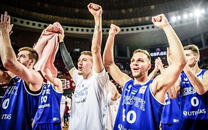 Eesti korvpallikoondis pärast mängu Gruusia vastu
