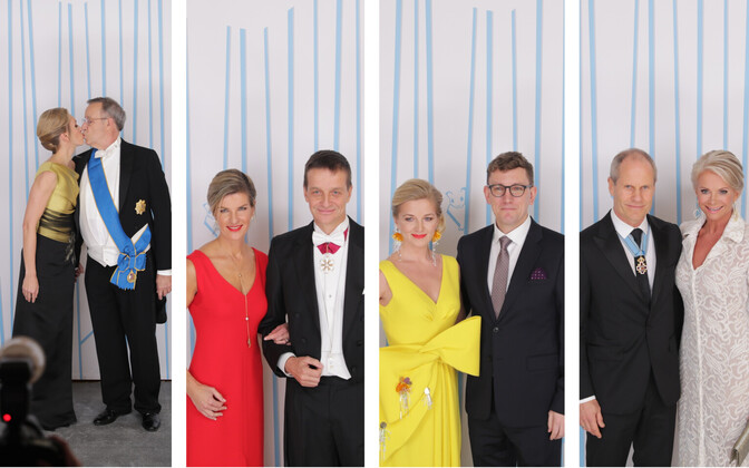 Presidendi vastuvõtu külalised fotoseina ees