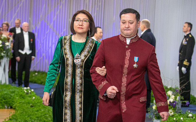 Ambassador Murat Nurtleuov (right) with his spouse at the 2019 Independence Day reception in Tallinn. Nurtleuov resides in Helsinki.