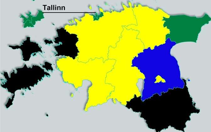 Current party support across Estonia by electoral district.