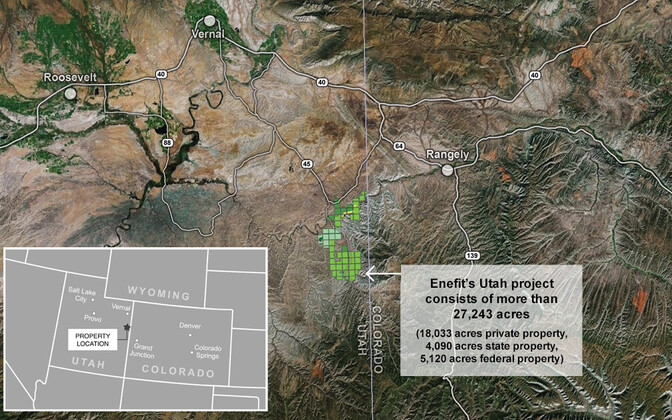 The location of Enefit American Oil's project in the state of Utah.