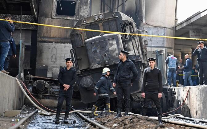 Пожар на вокзале в Каире.