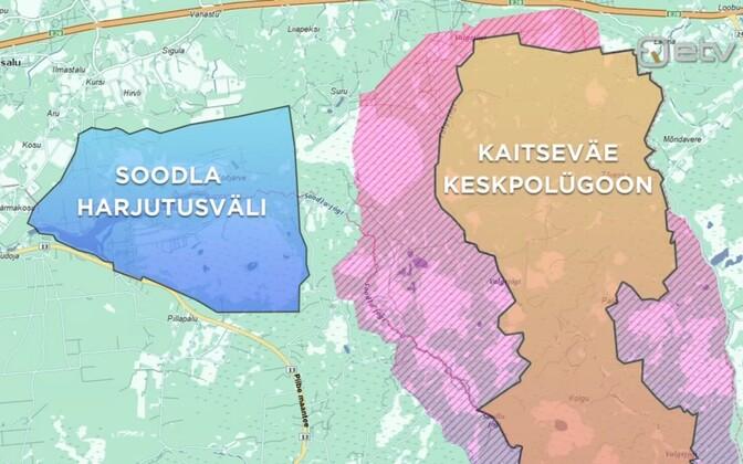 Центральный полигон и полигон Соодла на карте Эстонии.