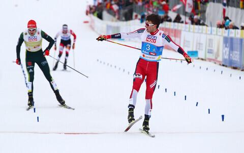 Jarl Magnus Riiber näitas finišis kõige paremat kiirust, Norrale oli see tänavuselt MM-ilt 12. kuldmedaliks