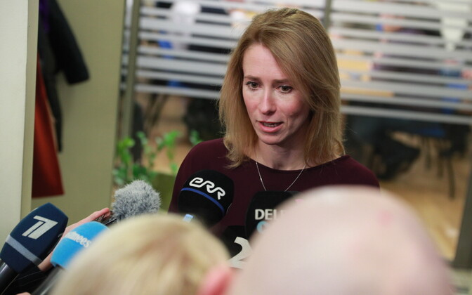 Kaja Kallas addressing reporters following a meeting of the Reform Party board. 6 March 2019.