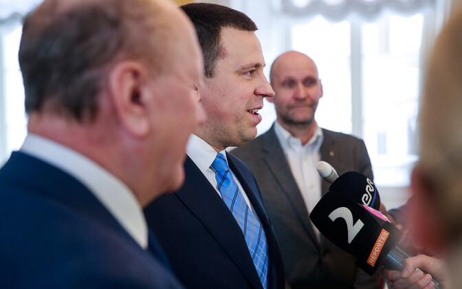 Party chairmen Mart Helme (EKRE), Jüri Ratas (Centre) and Helir-Valdor Seeder (Isamaa) on Thursday. 14 March 2019.