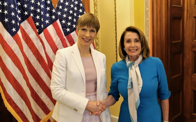 Speaker Nancy Pelosi and President Kersti Kaljulaid in Washington on Wednesday. 13 March 2019.