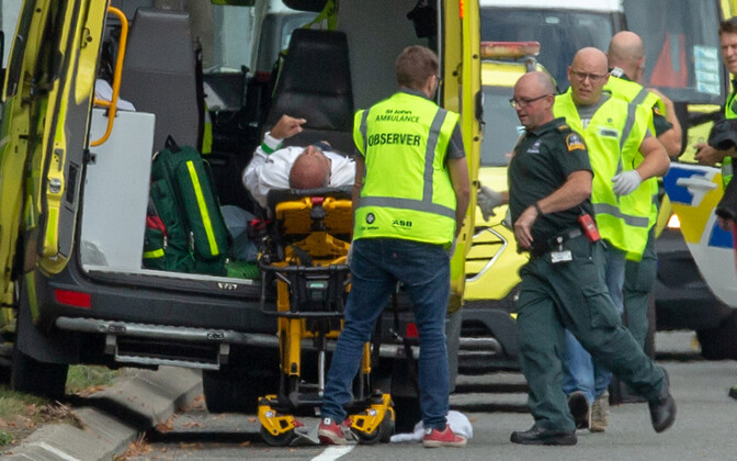 Police and paramedics on the scene at one of the Christchurch, New Zealand mosque shootings. 15 March 2019.