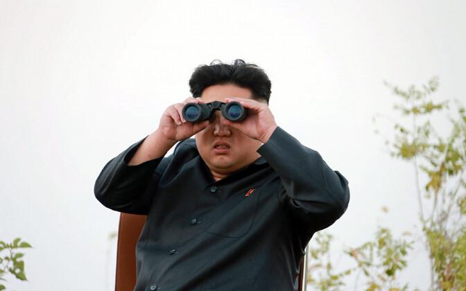 Põhja-Korea diktaator Kim Jong-un 2014. aastal raketitesti jälgimas.
