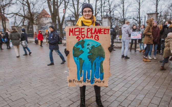 Climate protestor at Toompea in Tallinn.