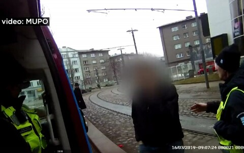 Footage captured by Tallinn Municipal Police Department video of the verbal attack.