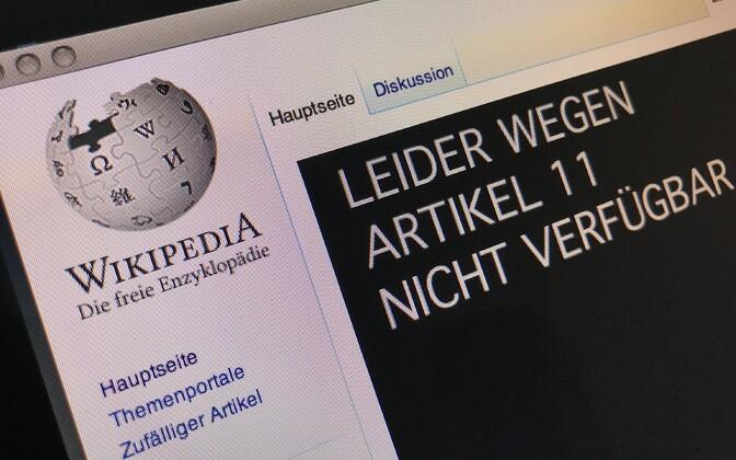 Saksakeelne Wikipedia blokeeris neljapäeval protestiks oma sisu.