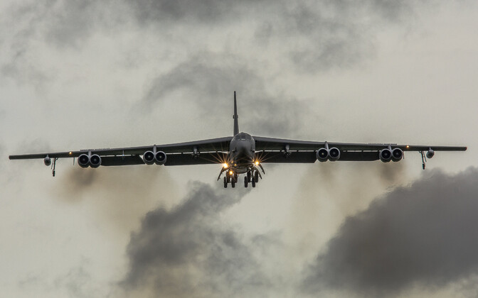 A US Air Force B-52 flying over RAF Fairford, UK, on 15 March.