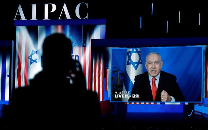 Iisraeli peaminister Benjamin Netanyahu AIPAC-i üritusel videosilla vahendusel rääkimas.