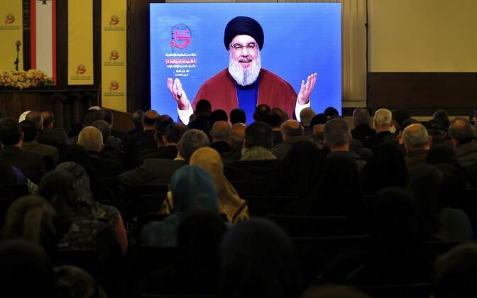 Hizbollah toetajad Beirutis Sayyed Hassan Nasrallah kõnet kuulamas.