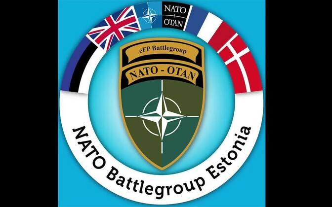 NATO battle group Estonia logo and flags.