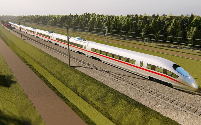 Render of the future Rail Baltica railway.
