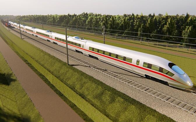 Render of the future Rail Baltica railway.