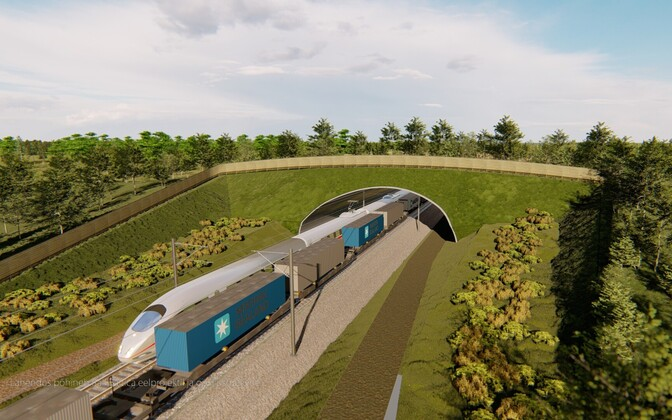 Render of a planned wildlife crossing, or ecoduct, along the Rail Baltica route.