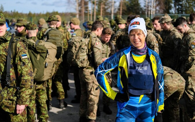 Kersti Kaljulaid at Friday's annual Scouts Battalion 30 km load carry