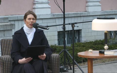 President Kersti Kaljulaid Lennart Meri teksti ette lugemas