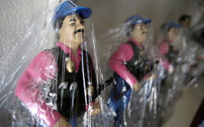 Narkoparun El Chapot kujutavad suveniirid Mehhikos Culiacanis.