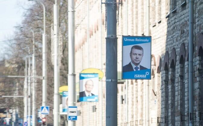 Erakonna Isamaa valimisplakatid Tallinnas Pärnu maanteel.
