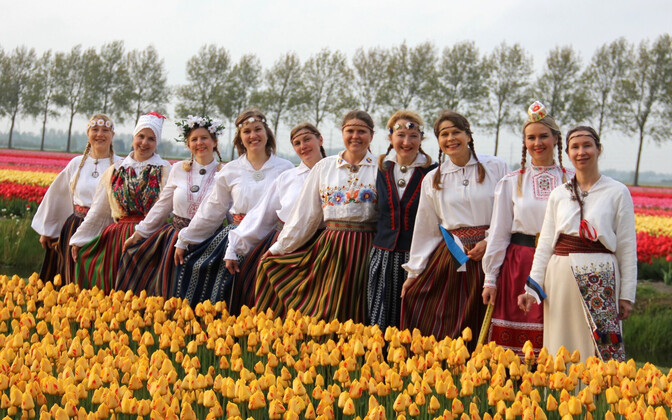 Nootdorp, Netherlands-based folk dance troupe Tuuletütred on International Dance Day. 29 April 2018.