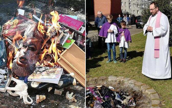 Raamatute põletamine Poola põhjaosas.