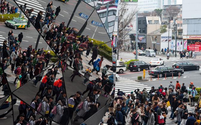 Praegu asub umbes 56 protsenti maailma elanikkonnast linnades. Pildil tokiolased Tokyu Plaza Omotesando kaubanduskeskuselt peegeldumas.