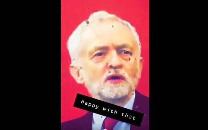 Märklauana kasutatud Jeremy Corbynit kujutav pilt.