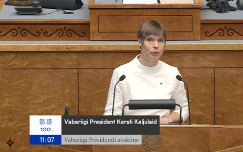 President Kersti Kaljulaid addressing the XIV Riigikogu at its special sitting on Tuesday.