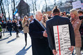 MPs arriving to the opening sitting of the XIV Riigikogu on Thursday morning were greeted by protesters. 4 April 2019.