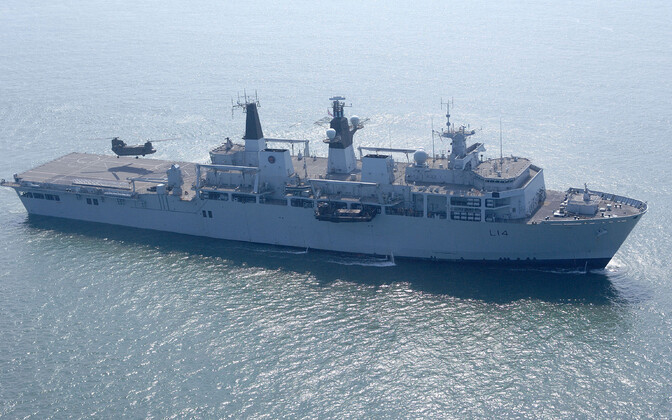 HMS Albion, a Royal Navy amphibious transport dock vessel partaking in Baltic Force.