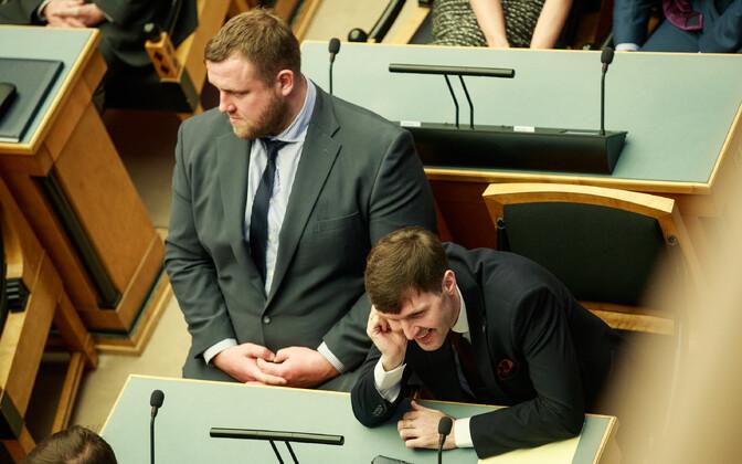 Riigikogu XIV koosseisu avaistung: Kaido Höövelson ja Martin Helme
