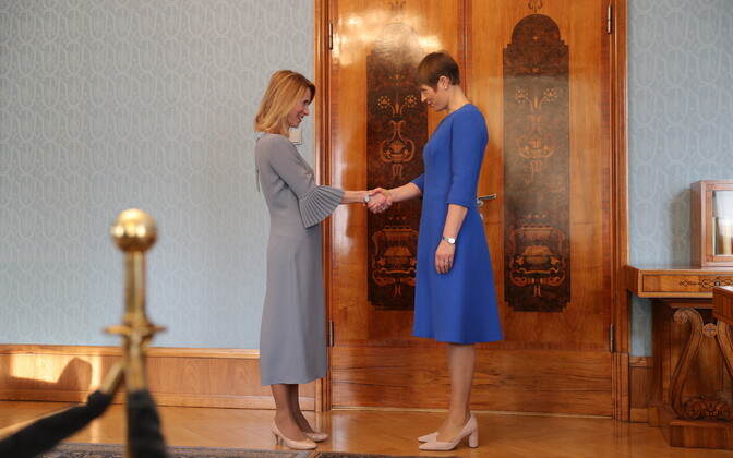 President Kersti Kaljulaid (right) gave Ms Kallas the task on Friday to form Estonia's next government.
