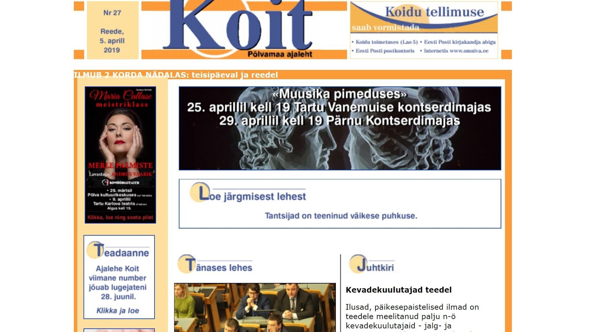 fc66e4e6389 Põlvamaa ajaleht Koit võib jätkata ilmumist Lõuna-Eesti Postimehe vahel |  Majandus | ERR