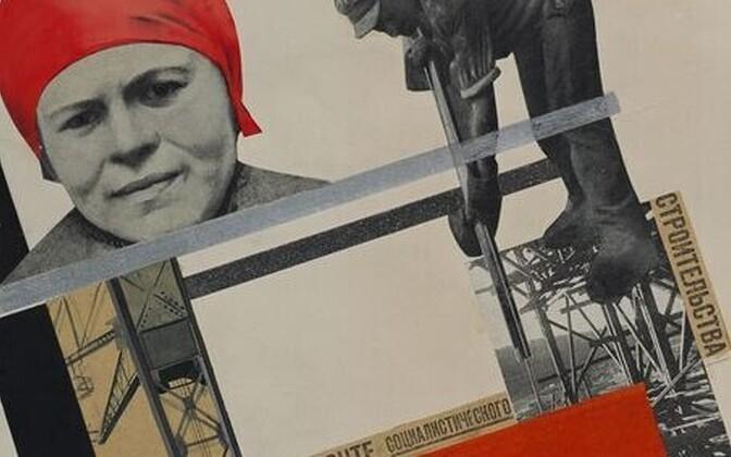 Gustav Klucis (1895–1938). Sotsialistliku ehitustöö rindel (1927–1928). Fotomontaaž, kollaaž, guašš, pliiats, süsi, tušš, alumiiniumpulber. Plakati kujundus.