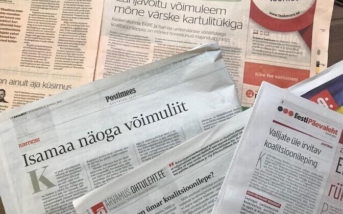 Ajalehtede juhtkirjad.